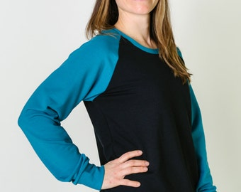 Women's warm bamboo fleece sweatshirt, gifts for her, womens fall clothes, teal & black, ready to ship