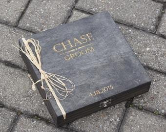 Groomsman Cigar Box, Personalized Cigar Box, Custom Cigar Box, Engraved Gift Box, Groomsman Gift Box, Cigar Box Engraved, Rustic Cigar Box