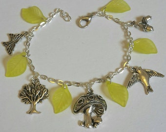 Woodland nature themed charm bracelet - silver plated