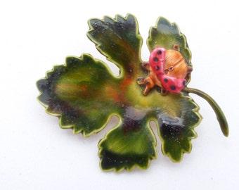 Original by Robert enamel leaf brooch with lady bug AL33