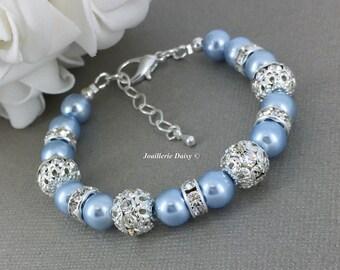 Swarovski Pearl Bracelet Light Blue Pearl Bracelet Bridesmaid Bracelet Bridesmaid Gift on a budget Maid of Honor Gift Bridal Party