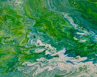 Green Pastures. Acrylic Fluid Art. 6 X 12 Inches