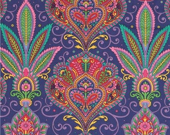 217191 purple fabric with colorful flower ornament pattern design Quilting Treasures