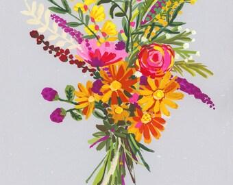Purple Yellow Bouquet PRINT