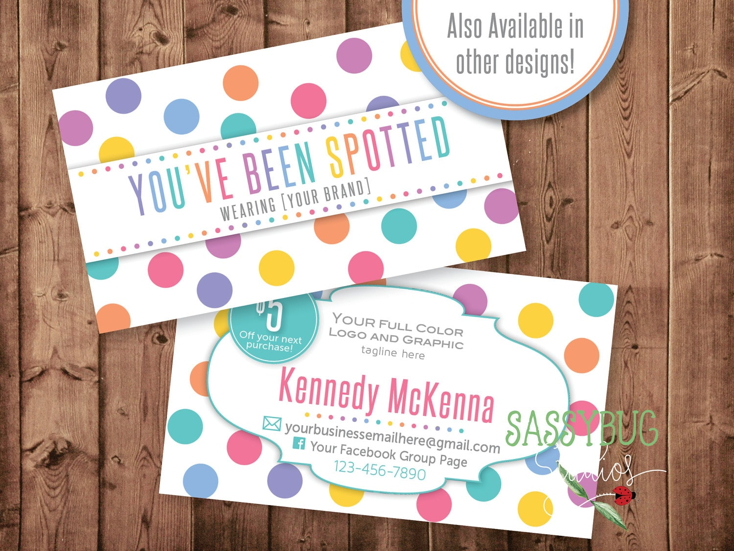 You\'ve Been Spotted Cards with 5 Dollar Off Coupon Dots
