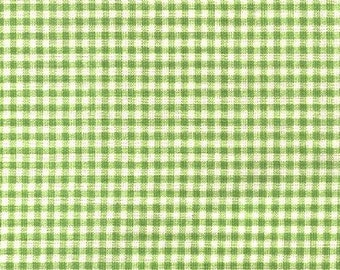 Country Check Gingham Green/White  Fabric, Bloomcaft Printed Decorative Home Decor