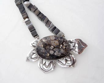 Fossil Necklace - Turritella Agate Pendant, .925 Sterling Silver, Kieshi Pearls, Hand-Crafted Statement Piece, Brown, Black, Organic