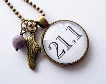 Half Marathon Necklace - 21.1 Kilometres - Running Pendant - 13.1 Miles - Custom Jewelry - You Choose Bead and Charm - Running Race - Run