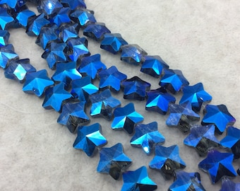 "13mm x 13mm Glossy Faceted Transparent/Metallic Blue  Crystal Glass Star Shaped Beads - Sold By 12"" Strands (~ 26 Beads)"
