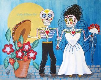 "Instant Download Printable Art jpeg Frida Kahlo and Diego Rivera ""The Wedding"" Day Of The Dead Art Print Mexican Folk Artist J Ellison"