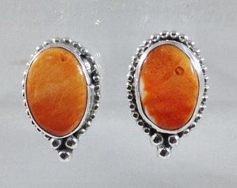 Orange Spiny Oyster Shell Post Earrings