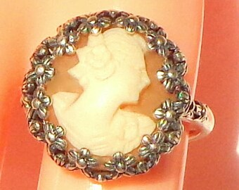 Size Adjustable, Vintage Cameo, New Sterling Silver Ring, Hand Carved Cameo, Italian Carved Conch Shell Cameo, OOAK