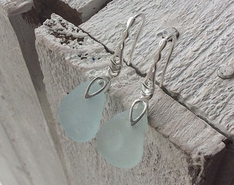 Sea Glass Earrings, Light Aqua Sea Glass, Sterling silver earwires, Seaham Sea glass, English Sea glass, Sea glass jewellery