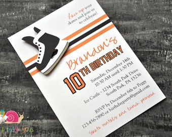 Hockey Birthday Party Invitations · A6 FLAT · Black and Orange · Choose your team colors   NHL Jersey Inspired   Skate Party