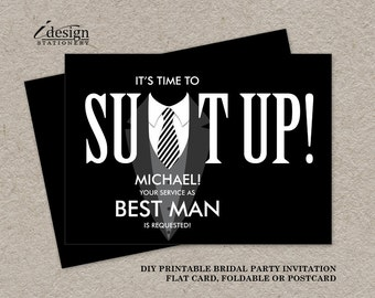 Printable groomsman proposal card suit up black tuxedo best man proposal card diy printable suit up tuxedo bridal party request cards will stopboris Choice Image