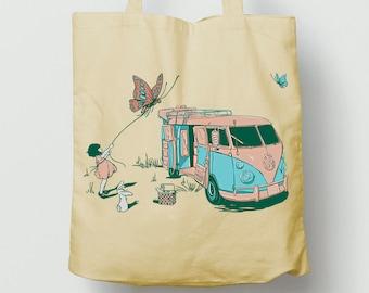 Girl flying kite bag, cute picnic bag, long handles tote bag