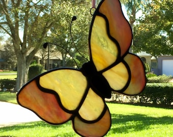 Yellow and Pink Butterfly Stained Glass Suncatcher Home Decor