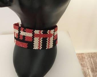Beaded  bracelet -  peyote bracelet- red and black beige  bracelet- thin peyote bracelet- -gift