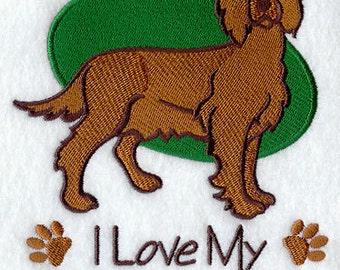 I Love My Irish Setter Embroidered Flour Sack Hand/Dish Towel
