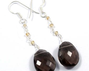 Handmade Solid 925 Sterling Silver Earring Jewelry,Natural Smoky Quartz,Citrine Gemstone, Fancy Beads,Drop Dangle Earrnig, ED-43