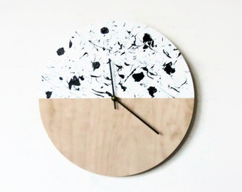 Wall Clock, Trending Modern Clock, Splatter Art, Natural Wood and White,  Housewares, Home and Living, Unique Wall  Clock