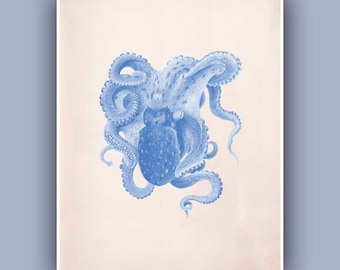 Octopus Print 4,  Vintage octopus illustration print, Sea life  Wall Decor, Antique Nautical art, Coastal Living
