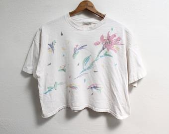 ONE SIZE (XLARGE) Vintage 1980s Pastel Floral Crop Top