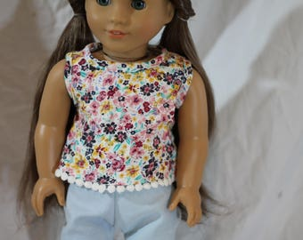 "18"" American girl doll Floral Tank Top"