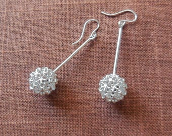 Virus Ball - Sterling Silver Earrings | 3D Printed Jewelry | 3D Printed Earrings | Cast Silver Earrings