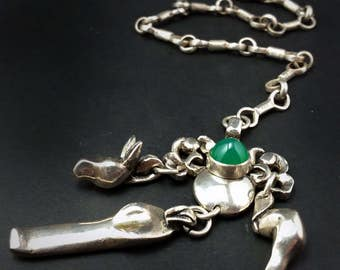 Chatelain - Thick Silver For Your Belt - Deer, Alligator and Sagull - Chrysoprase Cab