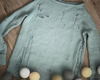 Knitted sweater blue alpaca