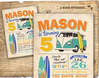 Surf invite - surfboard invitation with camper van - vintage beach summer party invite -  vintage DIY printable invitation
