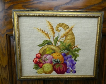 Vintage Theorem Needlepoint Picture in Gold Wood Frame