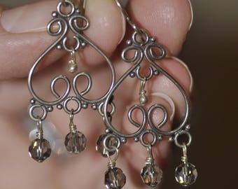 Heart Chandelier Dangle Earrings with ab swarovksi crystal dangles