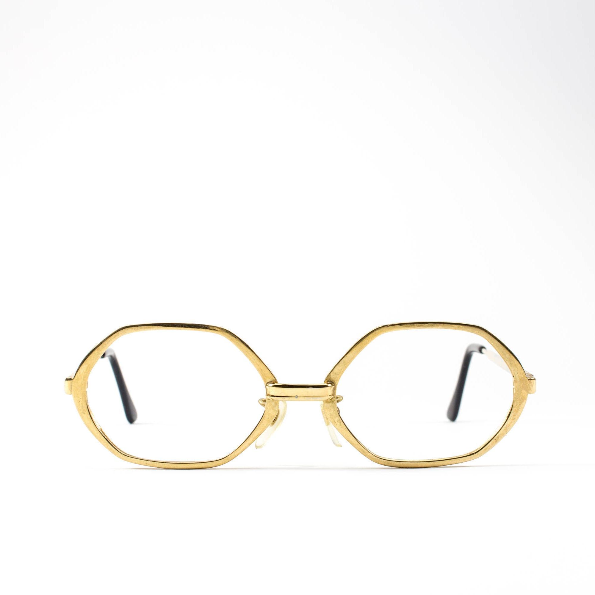 60s Glasses | Vintage Eyeglass Frame | Octagon Eyeglasses | Gold ...
