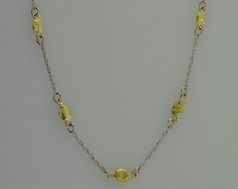 Gold Nugget with 14K rope chain