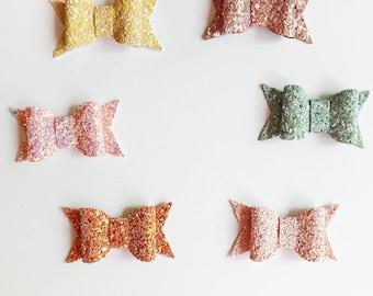 Chunky Glitter Bow, Glitter Bow, Baby Headband, Newborn Headband, Girl Hair Clip, Toddler Hair Clip, Baby Shower Gift