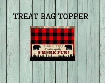Lumberjack S'more Treat Bag Topper *****INSTANT DOWNLOAD**** (Lumber-BagTopper)