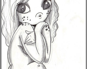 Day #251 - Covered up - freckled cutie -  original sketch a day drawing! 5.5 x 8.5