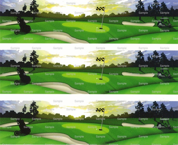 Golf - Birthday Background - Designer Strips - Edible Cake Side Toppers- Decorate The Sides of Your Cake! - D364