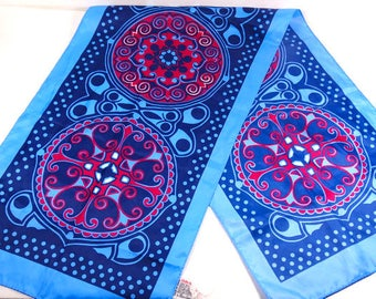 Oblong Blue and Red Vintage Scarf