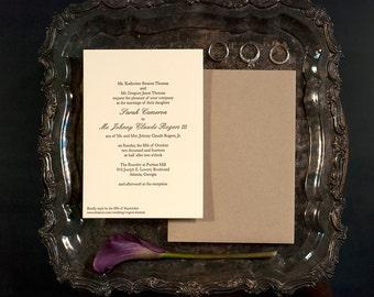 Letterpress Wedding Invitation | Traditional Wedding Invitation | Classic Wedding Invitation | Handmade Wedding Invitation