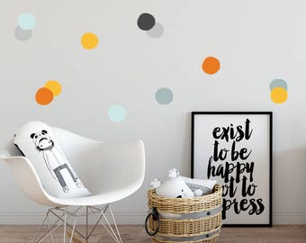 Removable Polka dots Wall Decals, Gray, Orange, Polka dots, Baby Wall Decal, Kids Wall Decal Modern Nursery Wall Decal, vinyl polka dots