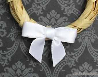 48 Mini WHITE Satin Bows - Ready for crafting