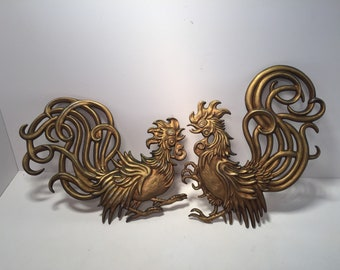 Vintage Vermay gold metal rooster wall plaques.