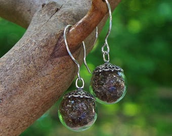 Recycled Reclaimed Vintage Amber Brown Clorox Jug Glass and Sterling Silver Orb Earrings