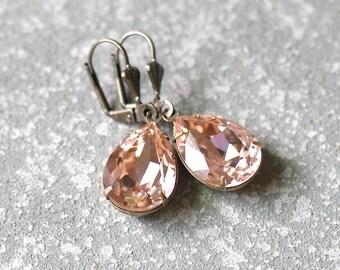 Blush Bridesmaid Blush Wedding Hint of Pink Vintage Rose Stud Earrings Swarovski Crystal Rose Gold Pear Tear Drop Earrings Wedd
