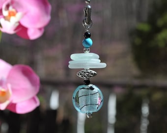 Genuine Sea Glass Ceiling Fan Pull Light Pull Suncatcher Seafoam Mix Stack 511 Free Shipping Lamp Pull Beaded Pull Unique Gift Sun Catcher