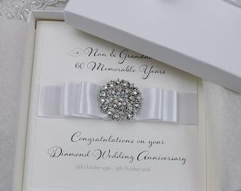 Luxury Diamond Wedding Anniversary Card //  60th Wedding Anniversary Card  // Gift Boxed Card // Handmade Wedding Anniversary Card