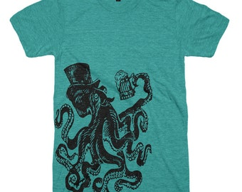 Octopus Drinking Beer Shirt Funny Tshirts Mens Tshirt Womens Graphic Tees Drinking Shirt St Patricks Day Shirt St Pattys Shirt Beer Gifts